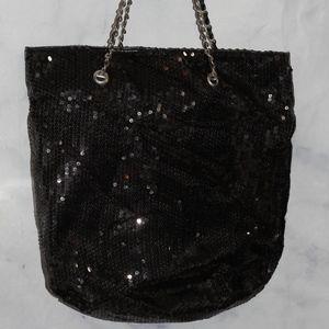 Black Shimmer Large Tote
